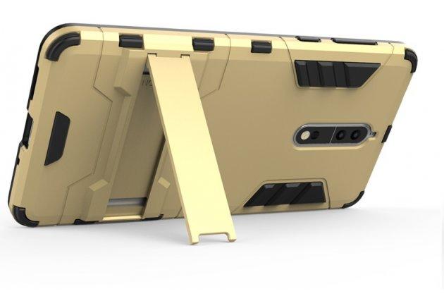 Задняя панель-крышка из прочного пластика с матовым противоскользящим покрытием для nokia 8 с подставкой в черном цвете