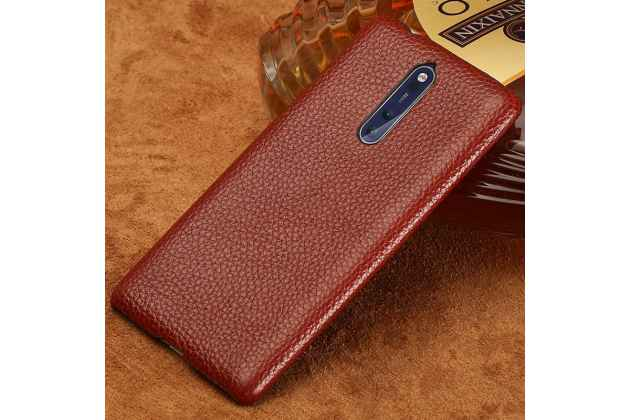 Роскошная задняя панель-крышка обтянутая импортной кожей для nokia 8 коричневая