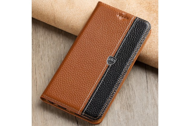 Чехол-книжка из качественной импортной кожи с мульти-подставкой и визитницей для nokia 8 коричневый с черной полосой
