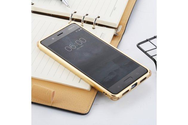 Металлическая задняя панель-крышка-накладка из тончайшего облегченного авиационного алюминия для nokia 8 золотая