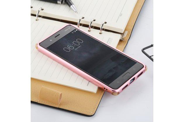 Металлическая задняя панель-крышка-накладка из тончайшего облегченного авиационного алюминия для nokia 8 розовое золото