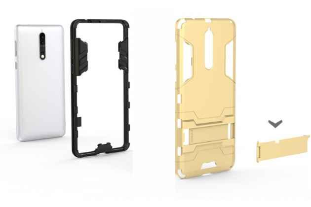 Задняя панель-крышка из прочного пластика с матовым противоскользящим покрытием для nokia 8 с подставкой в золотом цвете