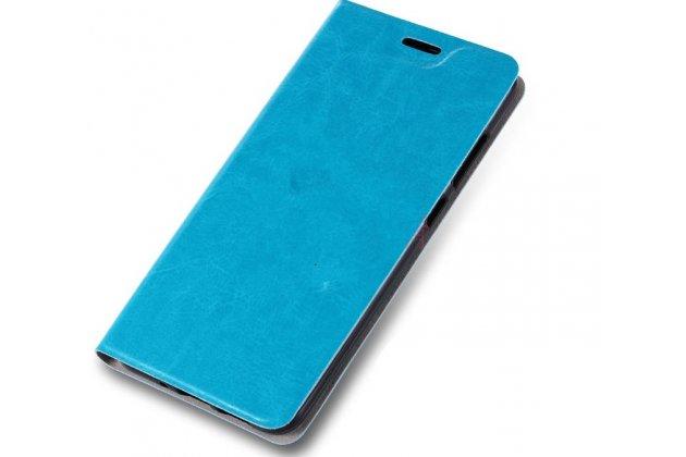 Чехол-книжка из качественной импортной кожи с мульти-подставкой и визитницей для nokia 8 голубой