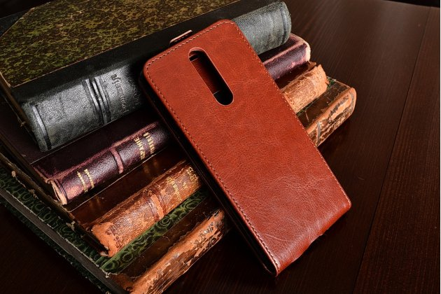 Вертикальный откидной чехол-флип для nokia 8 коричневый из натуральной кожи prestige
