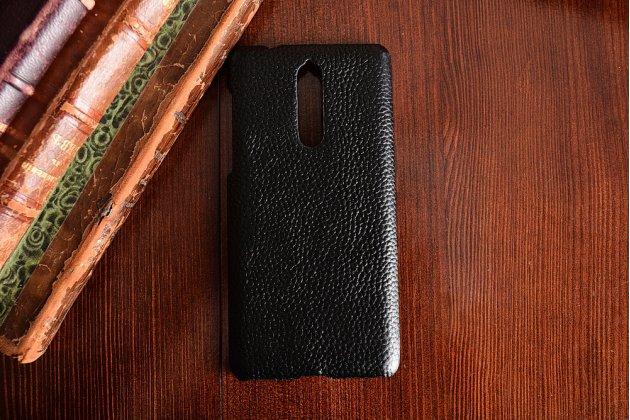 Роскошная задняя панель-крышка обтянутая импортной кожей для nokia 8 черная