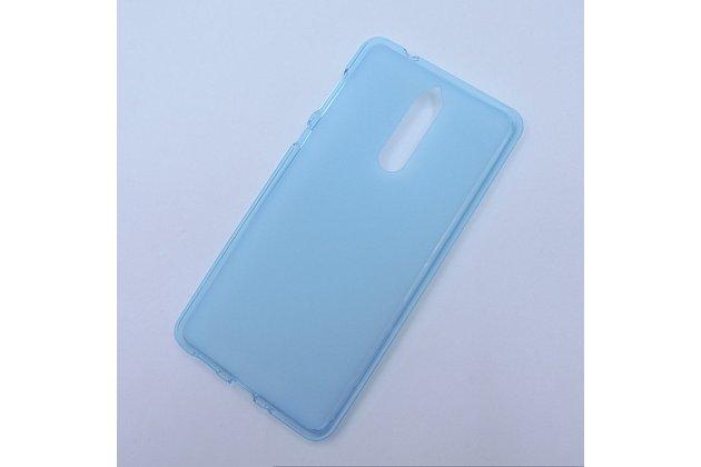 Ультра-тонкая полимерная из мягкого качественного силикона задняя панель-чехол-накладка для nokia 8 голубая