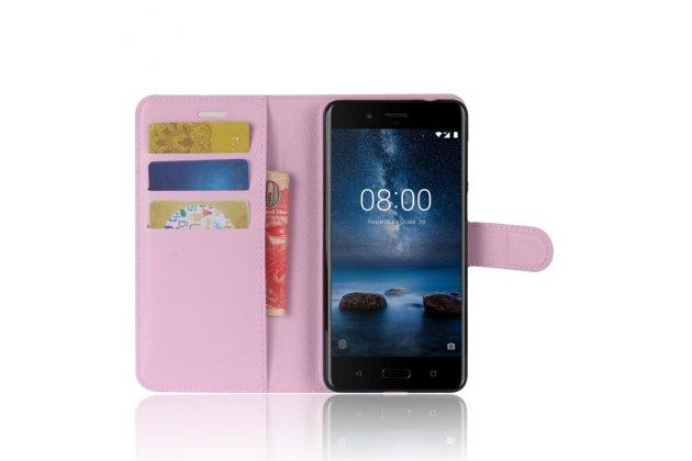 Чехол-книжка из качественной импортной кожи с подставкой застёжкой и визитницей для нокиа 8 розовый