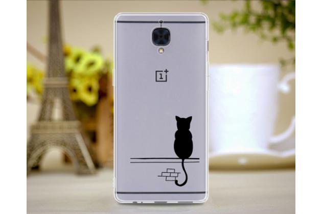"""Задняя панель-чехол-накладка из прозрачного 3d силикона с рисунком для oneplus 3t a3010/ oneplus 3 a3000 / a3003"""" """"тематика черный кот"""" которая огибает логотип чтобы была видна марка телефона"""