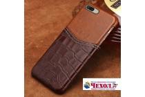 Роскошная элитная премиальная задняя панель-крышка для oneplus 5t из качественной кожи буйвола с вставкой под кожу рептилии в коричневом цвете