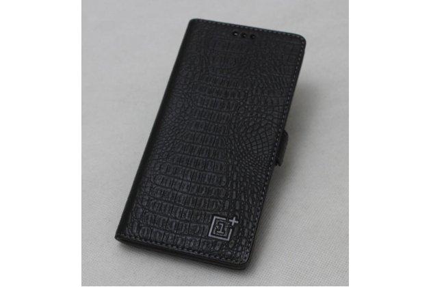 Подлинный чехол с логотипом для oneplus 5t из натуральной кожи крокодила черный