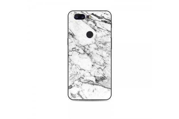 Из тончайшего прочного силикона задняя панель-крышка-накладка с рисунком под мрамор для oneplus 5t цвет белый