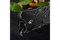 Противоударный металлический чехол-бампер из цельного куска металла с усиленной защитой углов и необычным экстремальным дизайном  для  oneplus 5t черного цвета