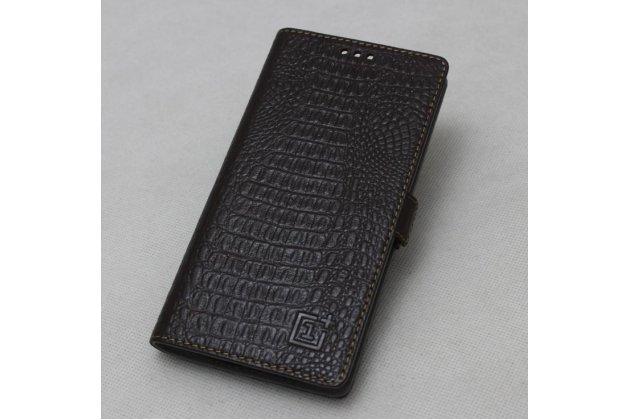Подлинный чехол с логотипом для oneplus 5t из натуральной кожи крокодила темно-коричневый