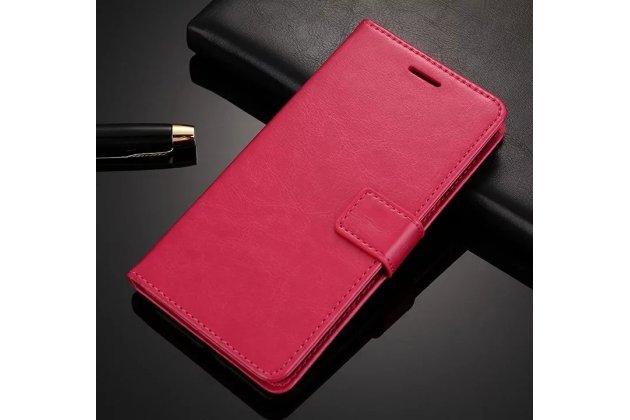 Чехол-книжка из качественной импортной кожи с подставкой застёжкой и визитницей для oneplus 5t розовый