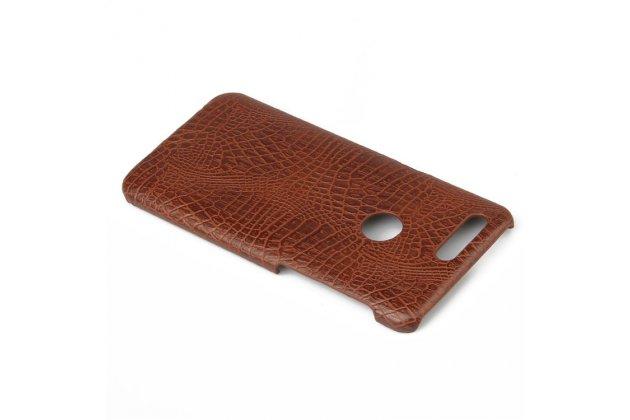 Роскошная элитная премиальная задняя панель-крышка на пластиковой основе обтянутая лаковой кожей крокодила  для oneplus 5t коричневый