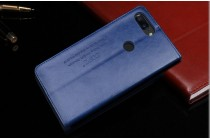 """,премиальный чехол-книжка с логотипом из качественной импортной кожи с мульти-подставкой и визитницей для oneplus 5t """"ретро"""" синий"""