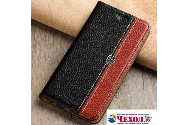 Премиальный чехол-книжка из качественной импортной кожи с мульти-подставкой и визитницей для oneplus 5t  черно-коричневый
