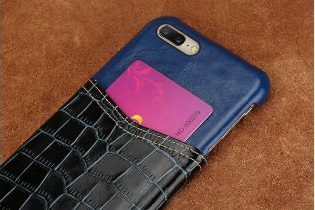 Роскошная элитная премиальная задняя панель-крышка для oneplus 5t из качественной кожи буйвола с вставкой под кожу рептилии в синем цвете
