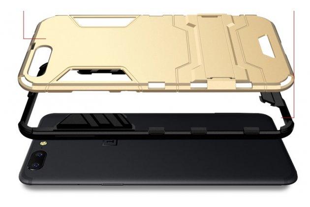 Противоударный усиленный ударопрочный чехол-бампер-пенал для oneplus 5t серебристый