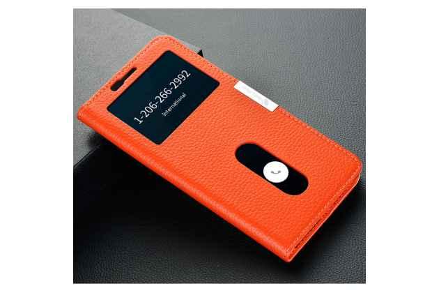 Чехол-книжка для oneplus 5t оранжевый с окошком для входящих вызовов и свайпом водоотталкивающий