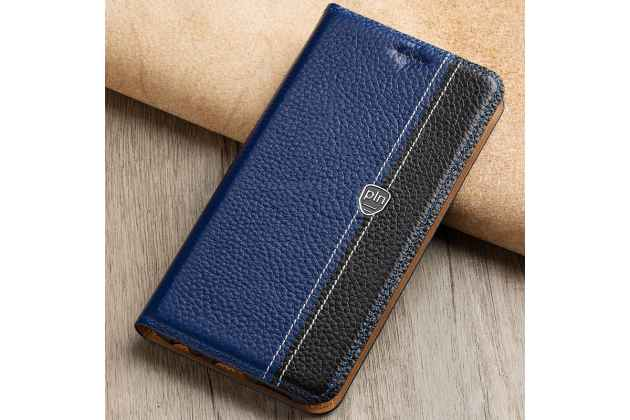 Премиальный чехол-книжка из качественной импортной кожи с мульти-подставкой и визитницей для oneplus 5t сине-черный