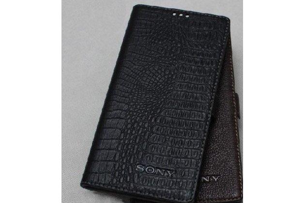 Роскошный эксклюзивный чехол с фактурной прошивкой рельефа кожи крокодила и застежкой черный для sony xperia e5. только в нашем магазине. количество ограничено