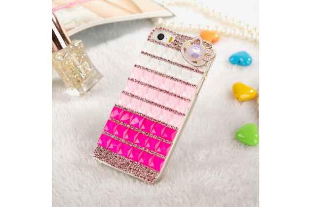 Роскошная элитная пластиковая задняя панель-накладка украшенная стразами кристалликами и декорированная элементами для sony xperia e5 розовая