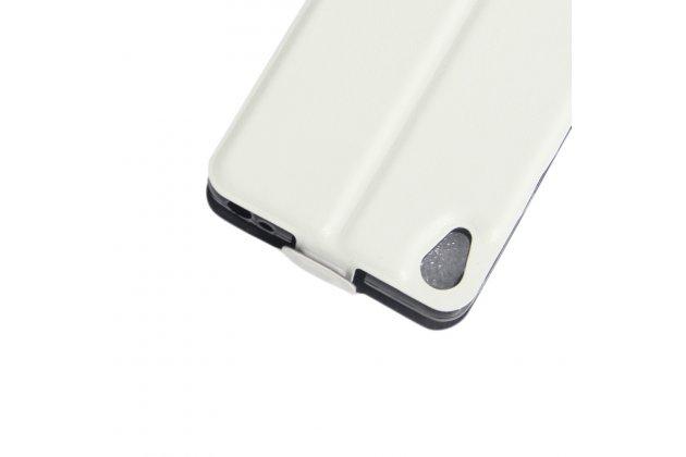 Вертикальный откидной чехол-флип для sony xperia e5 белый из натуральной кожи prestige италия