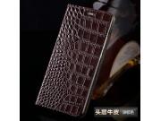 Фирменный чехол-книжка с подставкой для Sony Xperia E5 лаковая кожа крокодила коричневый..