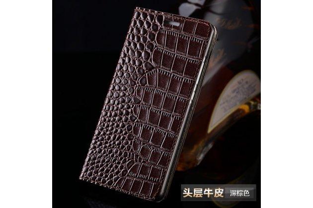 Чехол-книжка с подставкой для sony xperia e5 лаковая кожа крокодила коричневый