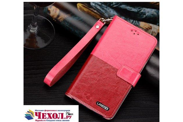 Чехол-книжка из качественной импортной кожи с подставкой застёжкой и визитницей для sony xperia x performance/ x performance dual красно-розовый