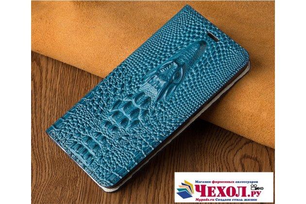 Роскошный эксклюзивный чехол с объёмным 3d изображением кожи крокодила синий для sony xperia x performance/ x performance dual  только в нашем магазине. количество ограничено