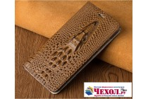 Роскошный эксклюзивный чехол с объёмным 3d изображением кожи крокодила коричневый для sony xperia x performance/ x performance dual . только в нашем магазине. количество ограничено