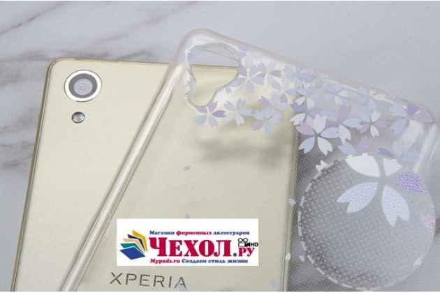 """Ультра-тонкая полимерная из мягкого качественного силикона задняя панель-чехол-накладка для sony xperia x / x dual 5.0"""" (f5121 / f5122) прозрачная с изображением """"перья"""""""