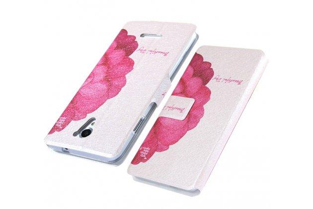 """Чехол-книжка с подставкой застёжкой и визитницей для sony xperia x / x dual 5.0"""" (f5121 / f5122) с изображением """"цветок"""""""