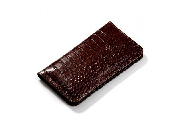 """Чехол-портмоне-клатч-кошелек из лаковой кожи крокодила для sony xperia x / x dual 5.0"""" (f5121 / f5122) коричневый"""