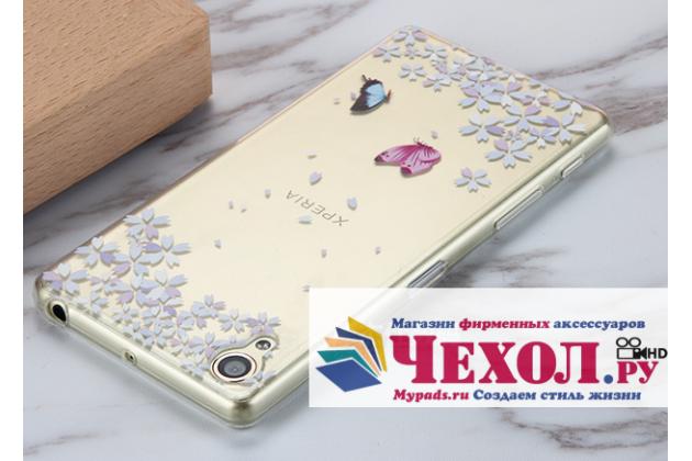 """Ультра-тонкая полимерная из мягкого качественного силикона задняя панель-чехол-накладка для sony xperia x / x dual 5.0"""" (f5121 / f5122) прозрачная с изображением """"бабочки в цветах"""""""