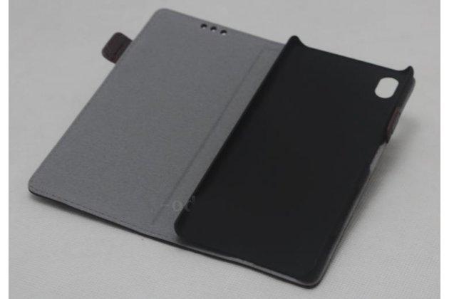 """Чехол-книжка из качественной импортной кожи с застёжкой и мультиподставкой для sony xperia x / x dual 5.0"""" (f5121 / f5122) коричневый"""