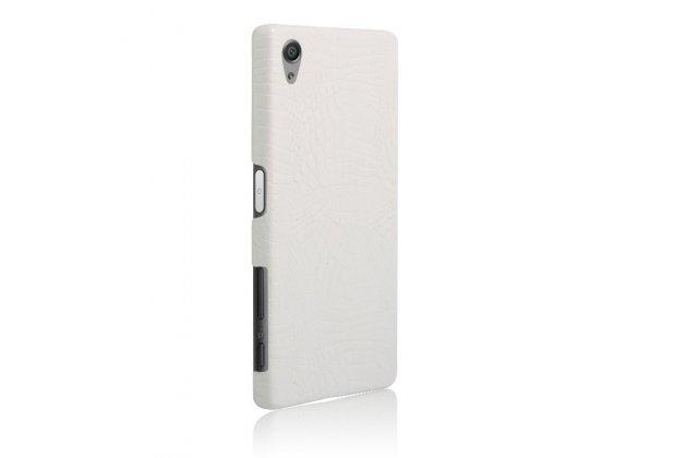 """Задняя панель-крышка на пластиковой основе обтянутая фактурной кожей для sony xperia x / x dual 5.0"""" (f5121 / f5122) белая"""