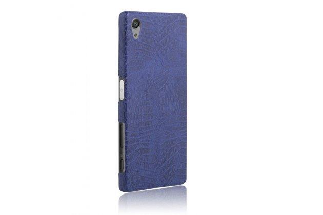 """Задняя панель-крышка на пластиковой основе обтянутая фактурной кожей для sony xperia x / x dual 5.0"""" (f5121 / f5122) синяя"""