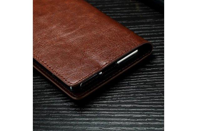 """Чехол-книжка из качественной импортной кожи с подставкой застёжкой и визитницей для sony xperia x / x dual 5.0"""" (f5121 / f5122) коричневый"""