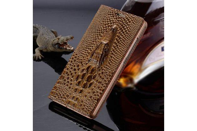 """Роскошный эксклюзивный чехол с объёмным 3d изображением кожи крокодила коричневый для sony xperia x / x dual 5.0"""" (f5121 / f5122). только в нашем магазине. количество ограничено"""