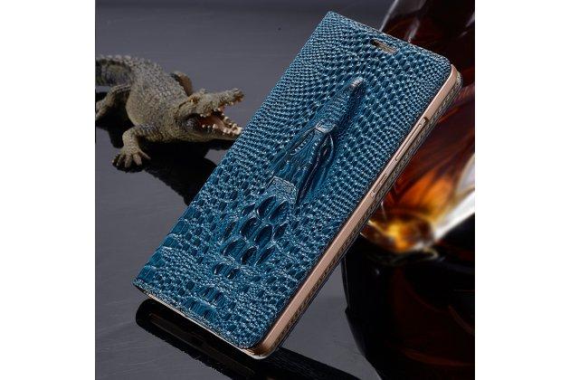 """Роскошный эксклюзивный чехол с объёмным 3d изображением кожи крокодила синий для sony xperia x / x dual 5.0"""" (f5121 / f5122). только в нашем магазине. количество ограничено"""