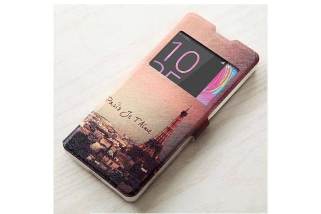"""Чехол-книжка с подставкой застёжкой и визитницей для sony xperia x / x dual 5.0"""" (f5121 / f5122) с изображением """"париж"""""""
