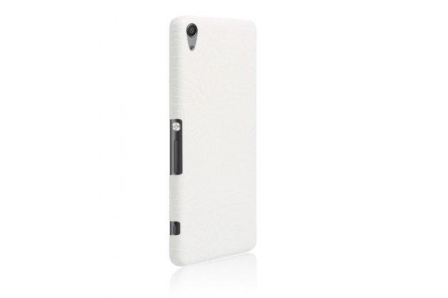 """Задняя панель-крышка на пластиковой основе обтянутая фактурной кожей для sony xperia xa / xa dual 5.0"""" (f3113/ f3112 / f3115 /e6533) белая"""