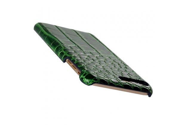 """Роскошная элитная премиальная задняя панель-крышка на пластиковой основе обтянутая лаковой кожей крокодила  для sony xperia xa / xa dual 5.0"""" (f3113/ f3112 / f3115 /e6533) зеленая"""