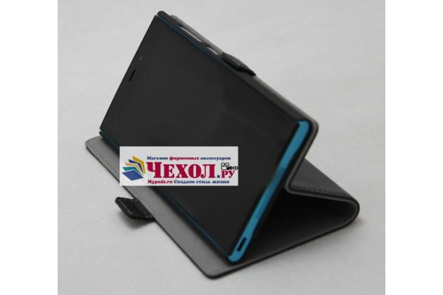 """Чехол-книжка из качественной импортной кожи с подставкой и застёжкой для sony xperia xa / xa dual 5.0"""" (f3113/ f3112 / f3115 /e6533) черный"""