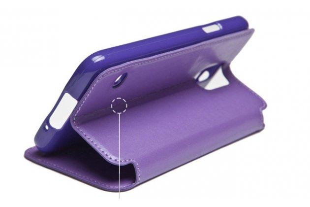"""Чехол-книжка с подставкой и визитницей для sony xperia xa / xa dual 5.0"""" (f3113/ f3112 / f3115 /e6533) фиолетовый с окошком для входящих вызовов водоотталкивающий"""