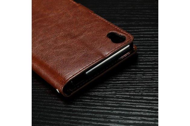 """Чехол-книжка из качественной импортной кожи с подставкой застёжкой и визитницей для sony xperia xa / xa dual 5.0"""" (f3113/ f3112 / f3115 /e6533) коричневый"""