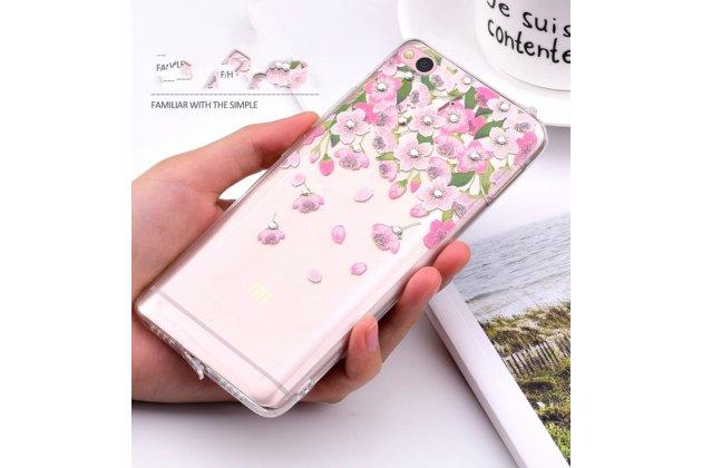 """Уникальная задняя панель-крышка-накладка из тончайшего силикона для xiaomi mi 5c с объёмным 3d рисунком тематика """"цветы"""""""
